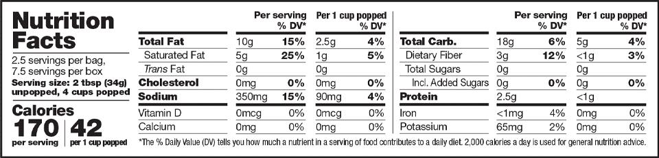 Family Farm Grown Popcorn Nutrition Information Family Farm Grown